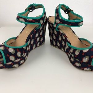 Report Shoes - Report Shala Navy Teal Trim Fabric Birds Wedge -9